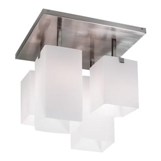 Geometric Flush Mount Glass and Chrome Light