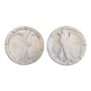 Pair of Neoclassical American Eagle Wall Medallions