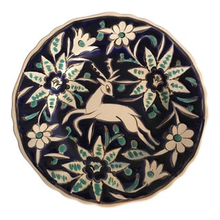 Handmade Deer With Flowers Plate