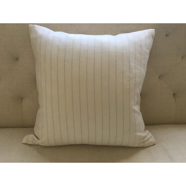 Holland & Sherry Ivory With Pale Blue Pinstripe Wool Pillow Cover - Image 4 of 8