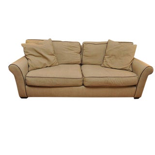 Ralph Lauren Leather Piped 3 Seat Sofa