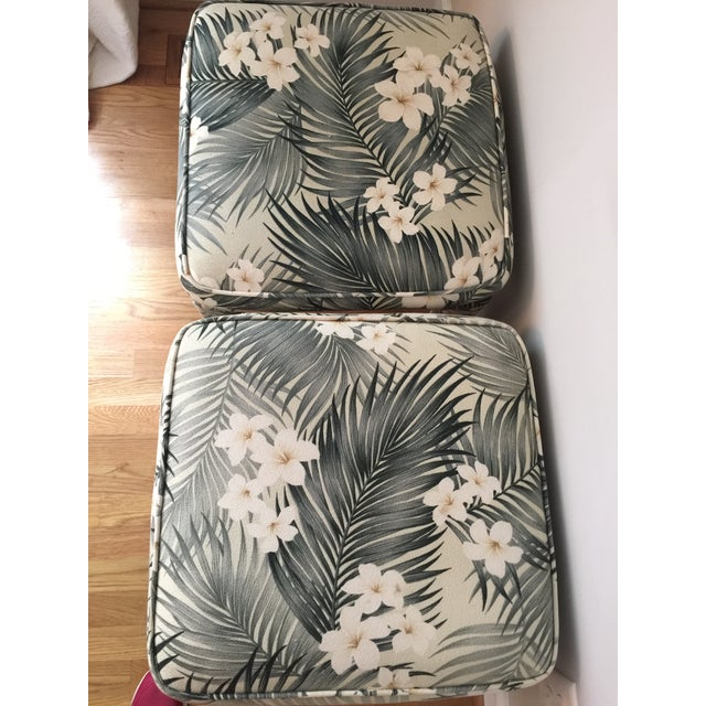 Parsons Stools With Palm Leaf Fabric - A Pair - Image 10 of 11