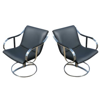 Pair of Gardner Leaver for Steelcase Swivel Black Leather Lounge Arm Chairs