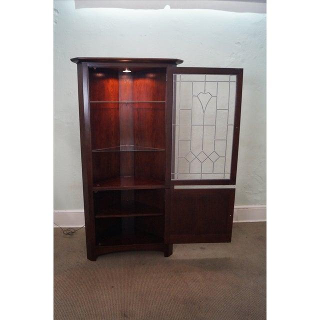 Stickley Mission Oak Art Glass Corner Cabinet Chairish