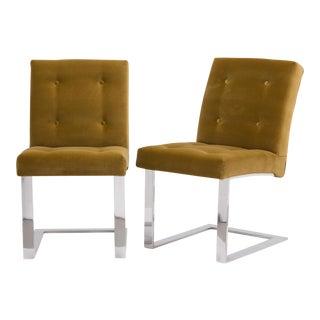 A Rare Pair of Paul Evans Velvet Upholstered Chairs 1977