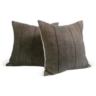 Vintage Jute Fabric Pillows - A Pair