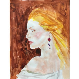Contemporary Watercolor Portrait of a Lady
