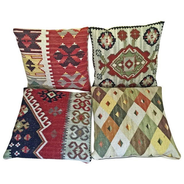Dhurrie Tapestry Pillows - Set of 4 - Image 1 of 4
