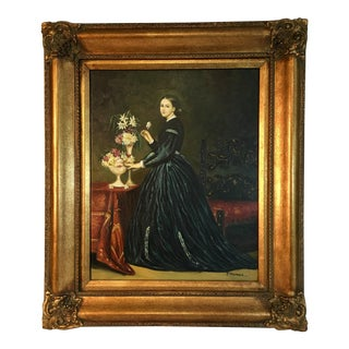 Vintage Oil Painting Portrait of a Woman in Victorian Dress