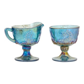 Blue Iridescent Cream & Sugar Bowls