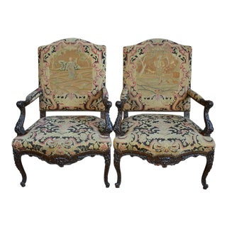 19th Century Mahogany Needlepoint Chairs - a Pair