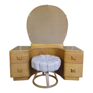 Heywood Wakefield Rio Champagne Maple Vanity & Stool