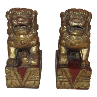 Red & Gold Carved Foo Dogs - A Pair