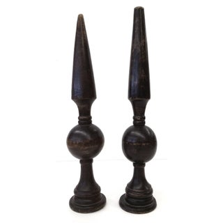 Antique Sculptural Wood Finials - a Pair