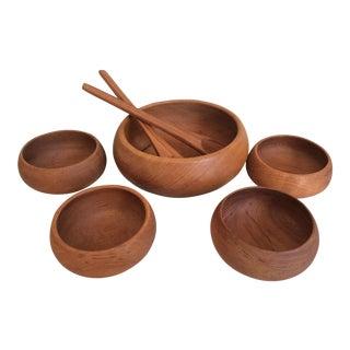 Mid-Century Modern Teak Salad Bowls - Set of 7