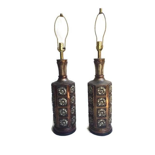 Big Vintage Medallion Hollywood Regency Lamps - Image 5 of 7