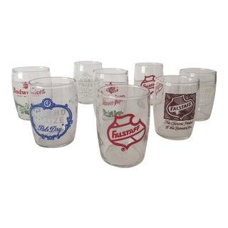 Vintage 1950's Beer Brands Barrel Glasses - 8
