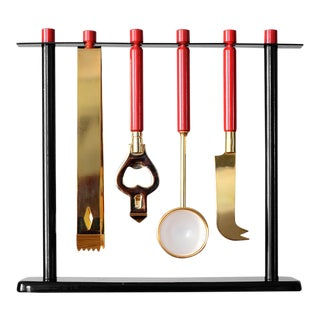 Vintage Modern Gold & Red Bar Tool Set With Stand