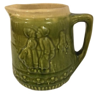 Antique Sage Green Dutch Couple Pitcher