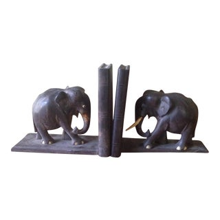 Vintage Wood Elephant Bookends - A Pair