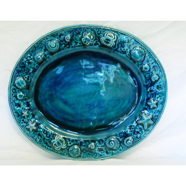 Image of Large Teal Sea Life Studio Art Platter