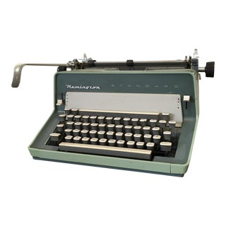 Large Vintage Aqua Manual Typewriter by Remington