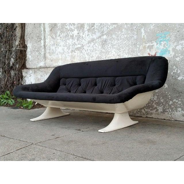 Mid-Century Modern Black Velvet Sofa - Image 4 of 7