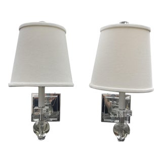 Lucite & Chrome Sconces With Shades - A Pair