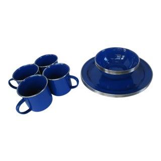 Blue Enamelware Set - 12 Pieces