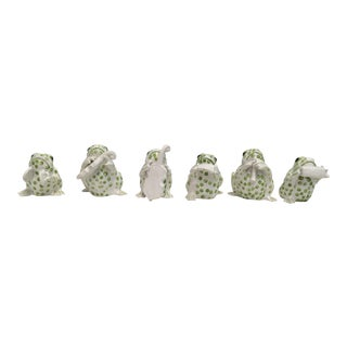 Green & White Band of Italian Frogs - Set of 6