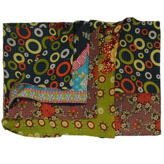 Vintage Navy and Avocado Green Kantha Quilt