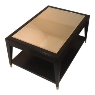 Black wood mirrored coffee table chairish for Mirror and wood coffee table