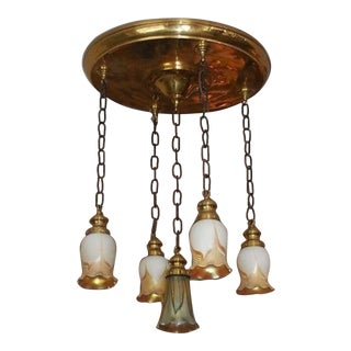 Steuben Antique Pulled Feather Shades Chandelier