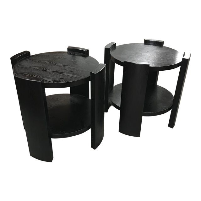French Art Deco Solid Ebonized Cerused Oak Coffee Tables - A Pair - Image 1 of 11