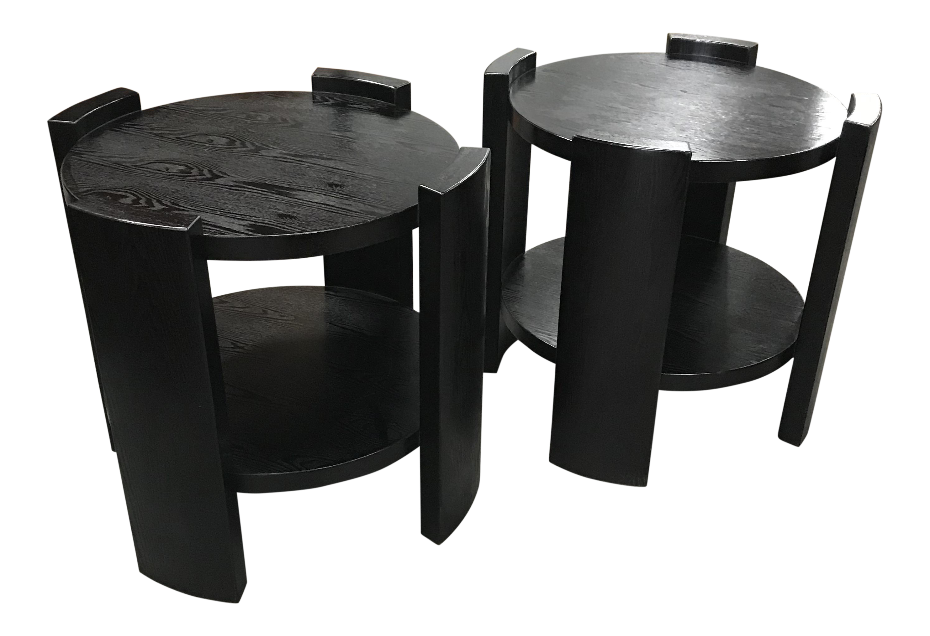 French Art Deco Solid Ebonized Cerused Oak Coffee Tables   A Pair