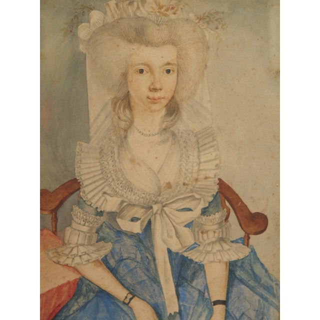 18th Century Style Watercolor Portrait of a Young Lady - Image 3 of 6