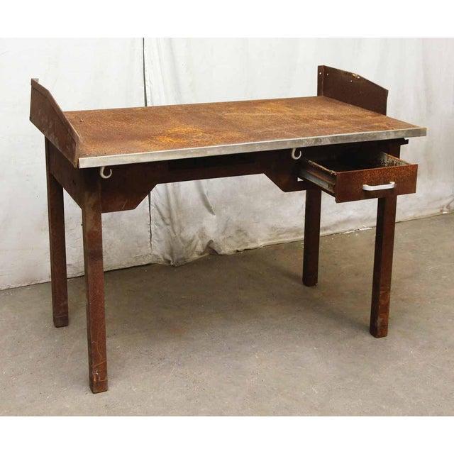 Rusted Metal Industrial Desk - Image 3 of 9