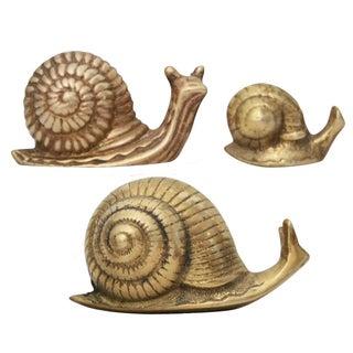Brass Snail Family Figurines - Set of 3