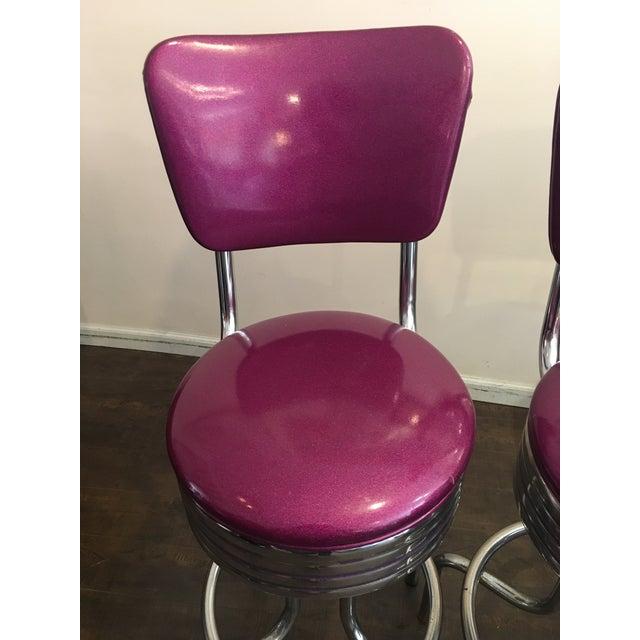 Purple Sparkle Vinyl & Chrome Barstools - a Pair - Image 3 of 6
