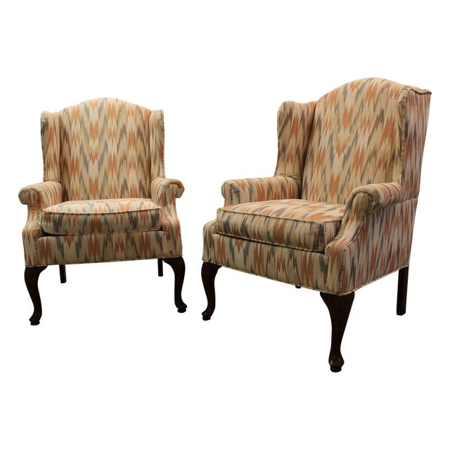 Image of Queen Anne Fireside Wing Chairs by Rowe - Pair