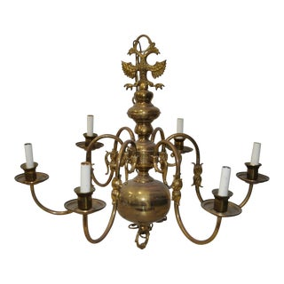 Six Arm Brass Berunda Chandelier c.1940s