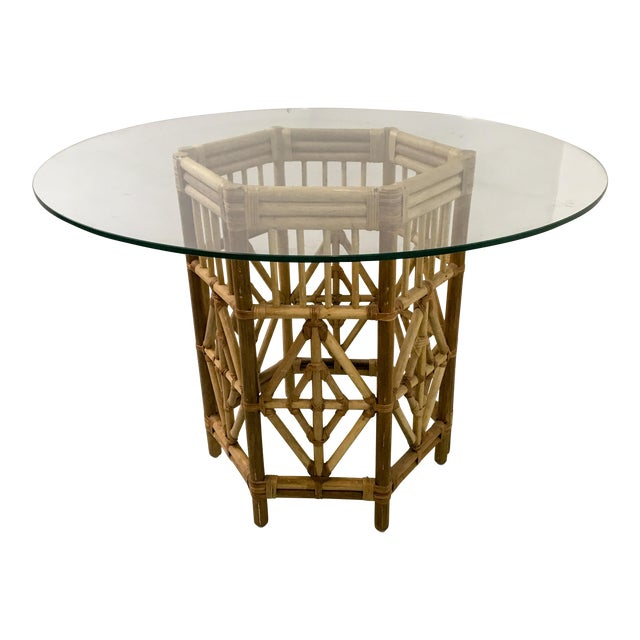 Pair of Rattan Consoles or Center Table - Image 1 of 5