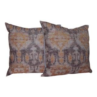 Yellow Vintage Ikat Print Pillows - A Pair
