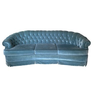 Blue Velvet Curved Tufted Sofa