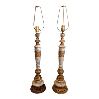 Mid-Century Asian Brass & Marble Lamps - A Pair