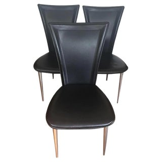 Jensen-Lewis Black Leather Dining Chairs- Set of 3