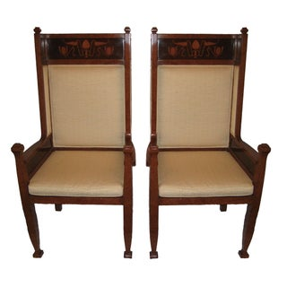 Custom Turkish Burlwood Throne Chairs