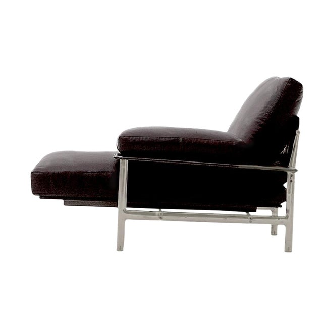 B b italia diesis black leather chaise chairish for Black leather chaise sale