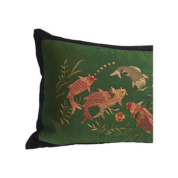 Image of Embroidered Koi Fish Silk Pillow
