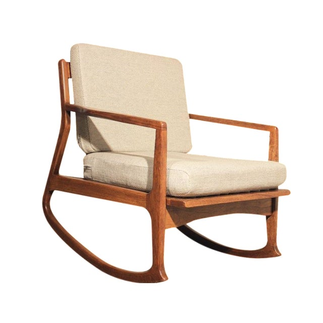 mid century danish modern teak rocking chair chairish